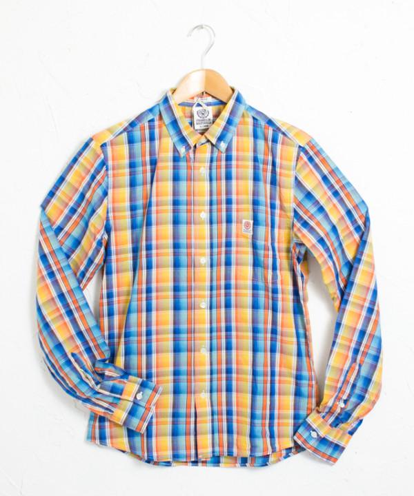 長袖チェックボタンダウンシャツ